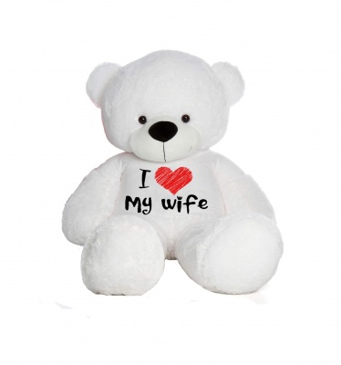 2 Feet Big White Teddy Bear Wearing Love Wife T-Shirt You're Personalized Message Teddy Bears