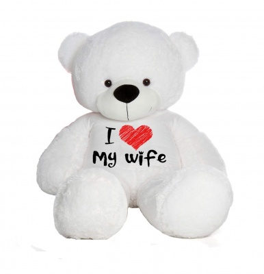 4 Feet Big White Teddy Bears Wearing Love Wife T-Shirt, 48 Inch T-shirt Teddy, You're Personalized Message Teddy Bears