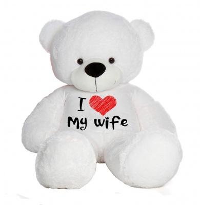 5 Feet Big White Teddy Bear Wearing Love Wife T-Shirt, 60 Inch T-shirt Teddy, You're Personalized Message Teddy Bear