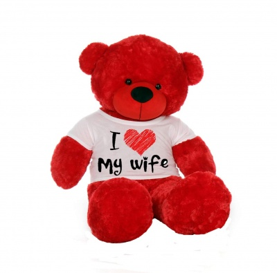 3 Feet Big Red Teddy Bear Wearing Love Wife T-Shirt 36 Inch T-shirt Teddy You're Personalized Message Teddy Bears
