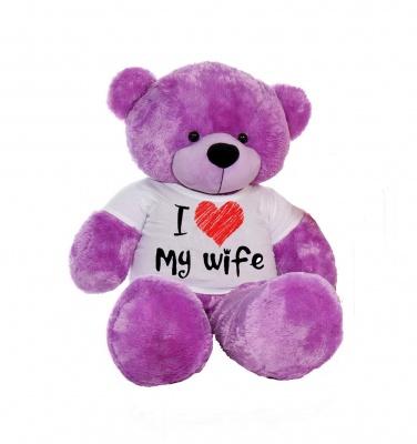 3 Feet Big Purple Teddy Bear Wearing Love Wife T-Shirt 36 Inch T-shirt Teddy You're Personalized Message Teddy Bears