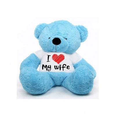 2 Feet Big Sky Blue Teddy Bear Wearing Love Wife T-Shirt You're Personalized Message Teddy Bears