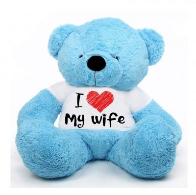 5 Feet Big Sky Blue Teddy Bear Wearing Love Wife T-Shirt, 60 Inch T-shirt Teddy, You're Personalized Message Teddy Bear