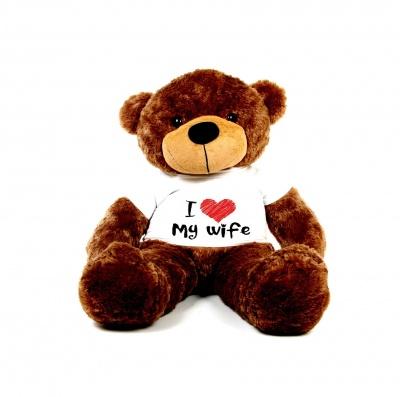 2 Feet Big Chocolate Teddy Bear Wearing Love Wife T-Shirt You're Personalized Message Teddy Bears