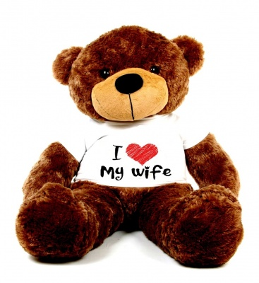 5 Feet Big Chocolate Teddy Bear Wearing Love Wife T-Shirt, 60 Inch T-shirt Teddy, You're Personalized Message Teddy Bear
