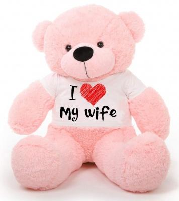6 Feet Big Pink Teddy Bear Wearing Love Wife T-Shirt 72 Inch T-shirt Teddy You're Personalized Message Teddy Bears