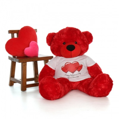 3 Feet Big Red Teddy Bear Wearing Valentine's Day T-Shirt 36 Inch T-shirt Teddy You're Personalized Message Teddy Bears