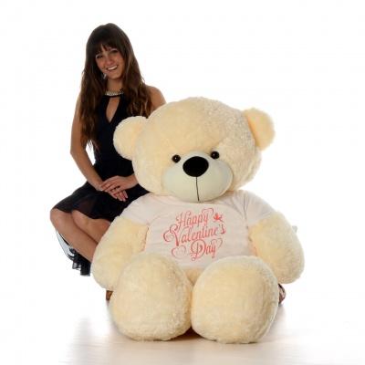 6 Feet Big Cream Teddy Bear Wearing Valentine's Day T-Shirt 72 Inch T-shirt Teddy You're Personalized Message Teddy Bears