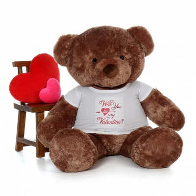 4 Feet Big Chocolate Teddy Bears Wearing Valentine's Day T-Shirt, 48 Inch T-shirt Teddy, You're Personalized Message Teddy Bears