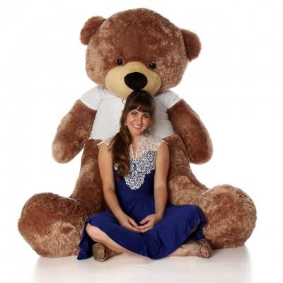 5 Feet Big Chocolate Teddy Bear Wearing Valentine's Day T-Shirt, 60 Inch T-shirt Teddy, You're Personalized Message Teddy Bear