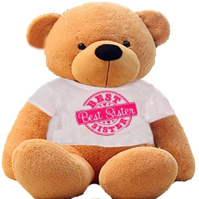 2 Feet Big Brown Teddy Bear Wearing Sister's T-Shirt You're Personalized Message Teddy Bears
