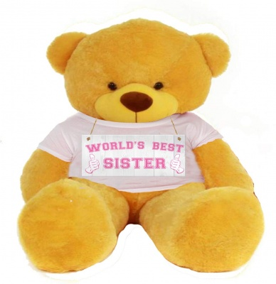 4 Feet Big Yellow Teddy Bears Wearing Sister's T-Shirt, 48 Inch T-shirt Teddy, You're Personalized Message Teddy Bears