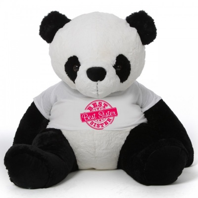 2 Feet Big Panda Bear Wearing Sister's T-Shirt You're Personalized Message Panda Bear
