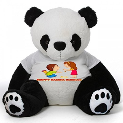 3 Feet Big Black & White Panda Bear  Wearing Sister's  T-Shirt 36 Inch T-shirt Panda Bear personalized Message Panda Bear