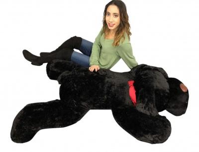 ToYBULK Giant Stuffed Puppy Dog 4 Feet Long Squishy Soft Extremely Large Plush Animal Black Color