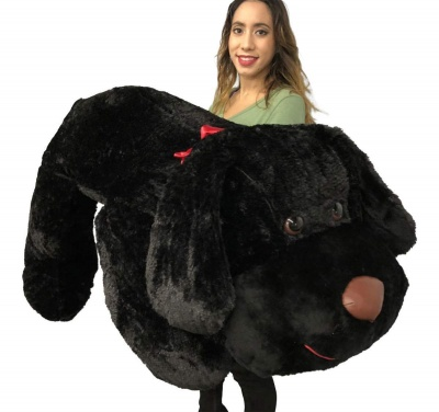 ToYBULK Giant Stuffed Puppy Dog 6 Feet Long Squishy Soft Extremely Large Plush Animal Black Color