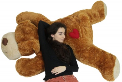 ToYBULK Giant Stuffed Puppy Dog 4 Feet Long Squishy Soft Extremely Large Plush Animal Brown Color