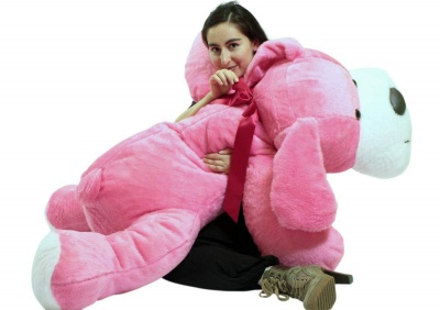 ToYBULK Giant Stuffed Puppy Dog 4 Feet Long Squishy Soft Extremely Large Plush Animal Pink Color