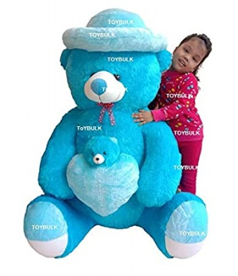 ToYBULK Real Giant 4 Feet Sitting Teddy Bears with Cap 48 inch Sky Blue, (4-Feet Blue)