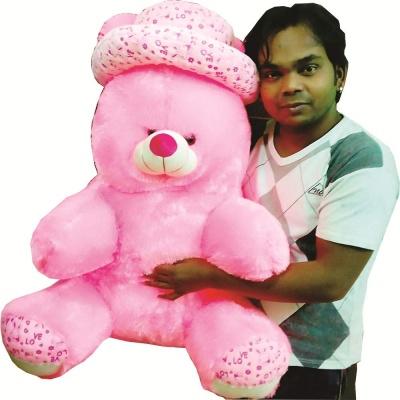 ToYBULK 3 feet Jumbo Sitting Large Very Soft Lovable/Hug-Gable Cap Teddy Bear Stuffed Toy with Heart 36 inch Girlfriends/Birthday, Wedding Gift
