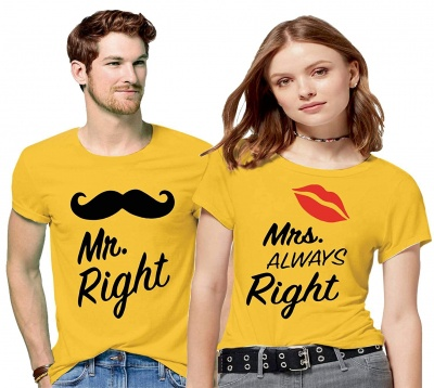 Couple Men's & Women's Cotton Printed Regular Fit T-Shirts (Pack of 2) - Mr Right Mrs Always Right
