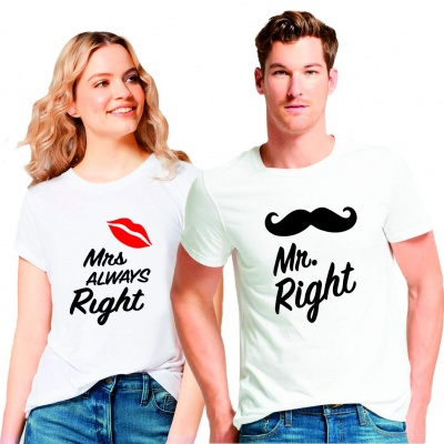 Couple Men's & Women's Cotton Printed Regular Fit White T-Shirts (Pack of 2) - Mr Right Mrs Always Right