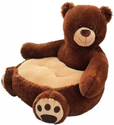 Plush Kids Bear Sofa Seat Children's Chair Armchair Animal Comfortable Sofa seat (Dark Brown Bear)