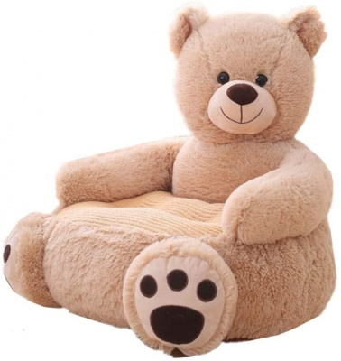 Plush Kids Bear Sofa Seat Children's Chair Armchair Animal Comfortable Sofa seat (Brown Bear)