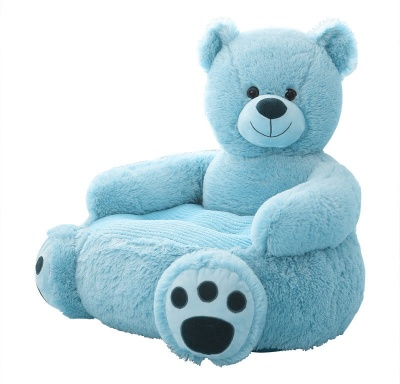 Plush Kids Bear Sofa Seat Children's Chair Armchair Animal Comfortable Sofa seat (Blue Bear)