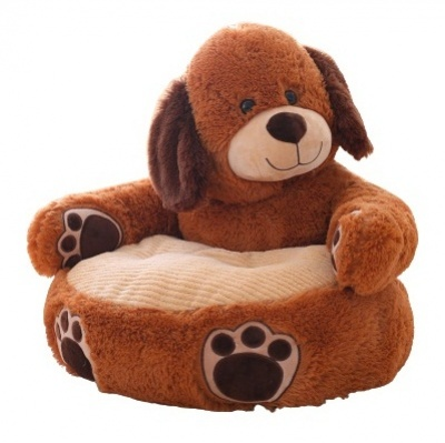 Plush Kids Dog Sofa Seat Children's Chair Armchair Animal Comfortable Sofa seat (Dark Brown Dog)