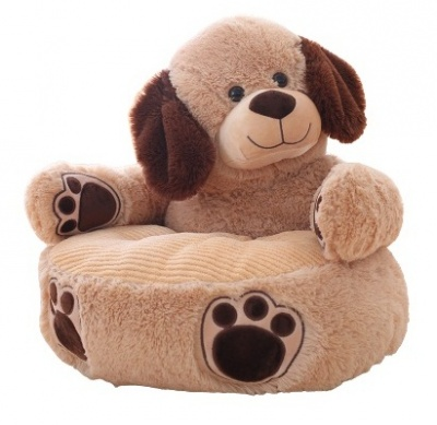 Plush Kids Dog Sofa Seat Children's Chair Armchair Animal Comfortable Sofa seat (Brown Dog)