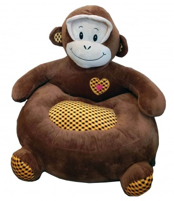 Plush Kids Monkey Sofa Seat Children's Chair Armchair Animal Comfortable Sofa seat (Dark Brown Monkey)