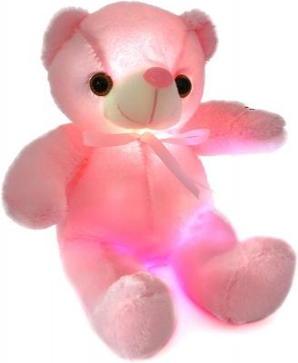Glow Teddy Bear with Bow-tie Stuffed Animal Light Up Plush Toys Gift for Kids Boys Girls Christmas Birthday, 12'' (Pink)