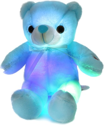 Glow Teddy Bear with Bow-tie Stuffed Animal Light Up Plush Toys Gift for Kids Boys Girls Christmas Birthday, 12'' (Blue)