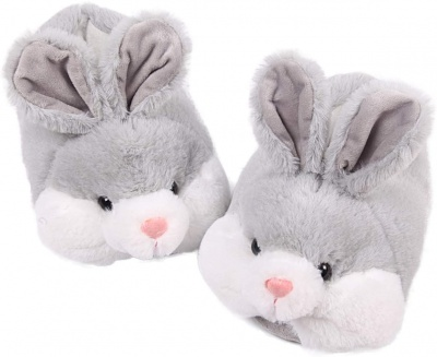 Classic Bunny Slippers for Women Funny Animal Slippers for Girls Cute Plush Rabbit Slippers Christmas Slippers for Womens (Gray)