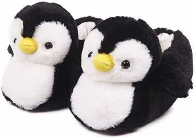 Womens Cute Penguin Animal Slippers Novelty Cozy Fuzzy Slippers Soft Plush Winter Warm House Shoes (Black)
