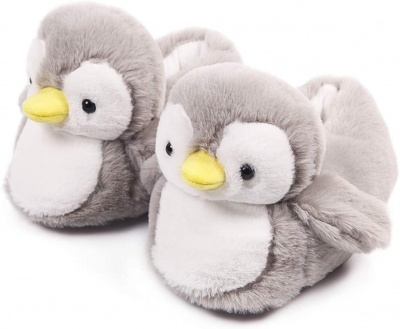 Womens Cute Penguin Animal Slippers Novelty Cozy Fuzzy Slippers Soft Plush Winter Warm House Shoes (Grey)