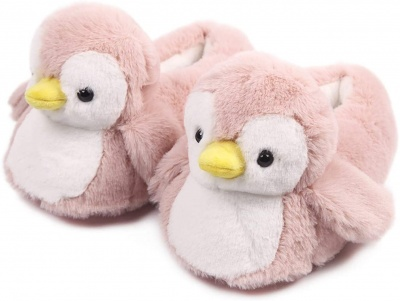 Womens Cute Penguin Animal Slippers Novelty Cozy Fuzzy Slippers Soft Plush Winter Warm House Shoes (Pink)
