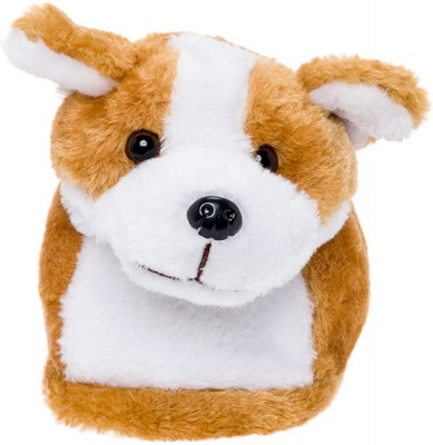 Womens Cute Dogs Animal Slippers Novelty Cozy Fuzzy Slippers Soft Plush Winter Warm House Shoes (Brown)