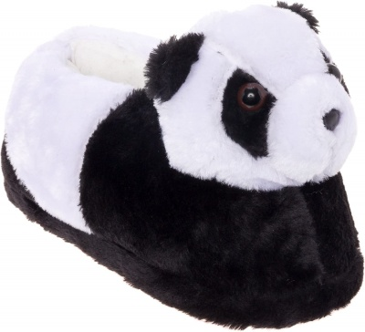 Womens Cute Panda Animal Slippers Novelty Cozy Fuzzy Slippers Soft Plush Winter Warm House Shoes (Black & White)