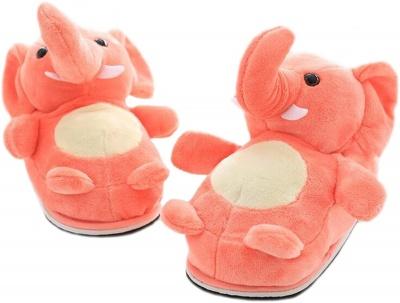 Womens Cute Elephant Animal Slippers Novelty Cozy Fuzzy Slippers Soft Plush Winter Warm House Shoes (Elephant Orange)