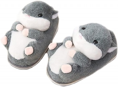 Womens Cute Animal Slippers Novelty Cozy Fuzzy Slippers Soft Plush Winter Warm House Shoes grey