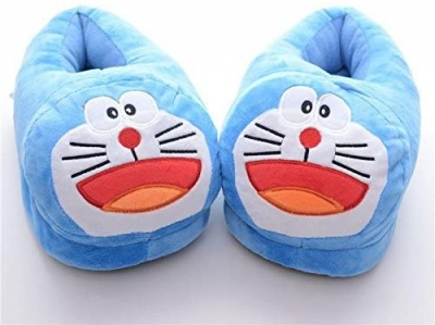 Womens Cute Doraemon Animal Slippers Novelty Cozy Fuzzy Slippers Soft Plush Winter Warm House Shoes