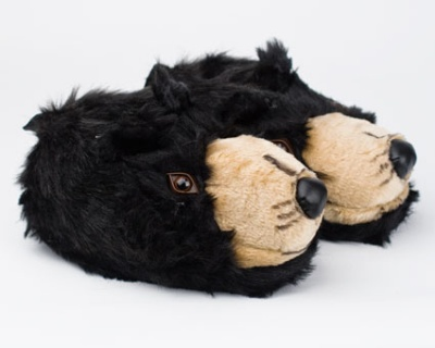 Womens Cute Black Bear Animal Slippers Novelty Cozy Fuzzy Slippers Soft Plush Winter Warm House Shoes