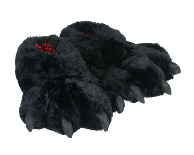Womens Cute Black Bear Paw Animal Slippers Novelty Cozy Fuzzy Slippers Soft Plush Winter Warm House Shoes