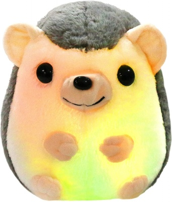 LED Hedgehog Stuffed Animal Glow Small Plush Toy Light up Nightlight Bedtime Gift for Toddlers Kids on Birthday Christmas, 10 inchs