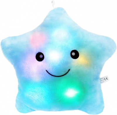 Creative Twinkle Star Glowing LED Night Light Plush Pillows Stuffed Toys (Blue)