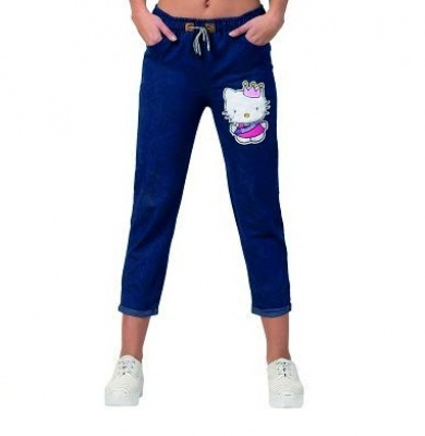 Women's Ankle Length Denim Jeans/Cargo Joggers Blue - Size M