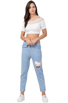 Women's Ankle Length Denim Jeans/Cargo Jogger Sky Blue - Size M