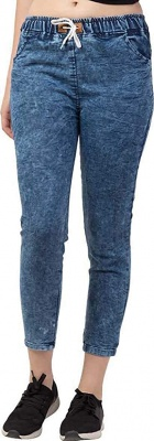 Women's Ankle Length Denim Jeans/Cargo Joggers Blue -Size M